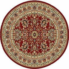 "Red Oriental Persian Round Area Rug 3x3 Bordered  Carpet - Actual 3'3""x3'3"""