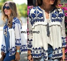 RARE ZARA EMBROIDERED ECRU JACKET KIMONO BLAZER COAT WHITE AND BLUE SMALL - S