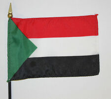 SUDAN  desk flag -- 4x6 inch on plastic staff with spear point