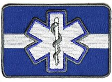 """(F21) WHITE LINE White Star Of Life 3.5"""" x 2.5"""" iron on patch (4607) EMT Medical"""