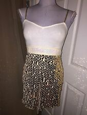 anthropologie Free People gold sequins tank top Holiday dress 4