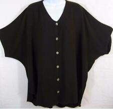 "TIENDA HO~Coffee Bean~MOROCCAN COTTON~Nador Cardigan Top~S/S~60"" Bust~OS~PLUS"