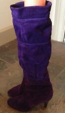 hana mackler vintage Made In Italy Rouched gorgeous purple suede boots 6 b SEXY