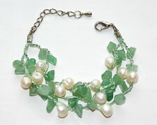 Gemstone Bracelet Triple Strand Fresh water Pearl Green Aventurine Silk Thread