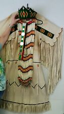 VINTAGE NATIVE AMERICAN BEADED CEREMONIAL FRINGED BUCKSKIN DRESS