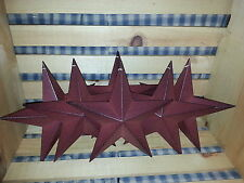 "Lot of 6 Primitive 8"" Burgundy Barn Stars - Decorate, Crafting, Country, Metal"