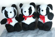 """3 Plush Giant Panda Bears Need a Home - about 8"""" tall - Brand New"""