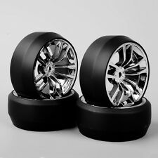 1/10th Scale RC Car Speed Drift 3 Degree Tires Tyre Chrome Wheel SBDC For HPI 4x