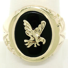Men's 14k Yellow Gold Bezel Oval Black Onyx & Eagle Bold Textured Signet Ring