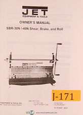 Jet SBR-30N 50N, shear Brake and Roll, Owner's Manual
