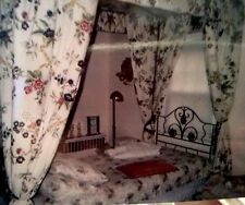 """ANTIQUE CAST IRON """"CANOPY BED"""" with CUSTOM DRAPPED FLOWERED ENSEMBLE ORIG $1595"""