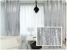"""1 PC 42""""x84"""" Silver Sequin Rodpocket Lined Curtain Home Decor Christmas Special"""