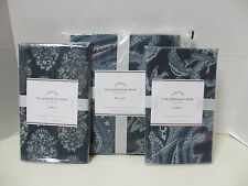 POTTERY BARN Reza Palampore Full/Queen Duvet & 2 Stnd Shams-Midnight Blue NEW