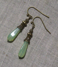 BRONZE FILIGREE LIGHT GREEN OPAL GLASS TEAR DROP EARRINGS DECO EDWARDIAN MINT
