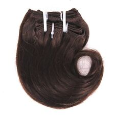 4pcs 50g Short Wavy Weave Light brown Real Human Hair Extensions 8inch