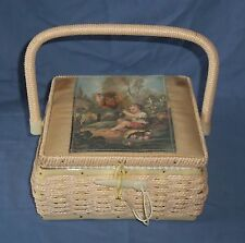 Vintage Woven Sewing Craft Box Basket with Handle Tray Boy & Girl Picture Detail