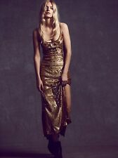 NWT FREE PEOPLE SzM MILLION DOLLAR BEADED SEQUIN SLEEVELESS GOWN DRESS GOLD $600
