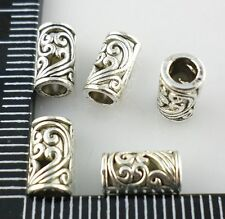 40Pcs Antique Silver Filigree Hollow Flower Hole:3mm Tube Spacer Beads 5x8.5mm