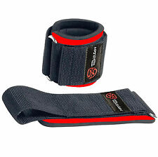 WEIGHT LIFTING WRIST SUPPORT WRAPS GYM STRAPS BANDAGES HOOK & LOOP LOCKING (RED)