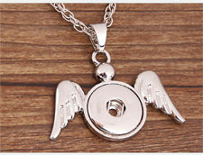 DIY Angel wings Pendant Fit for Noosa Necklace Snap Chunk Button PSB38