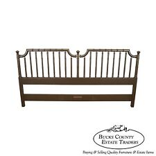 Vintage Hollywood Regency Style Gold Painted Faux Bamboo King Size Headboard