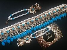 Indian  wedding jewellery set, pearls earrings necklace turquoise beads Jhumki