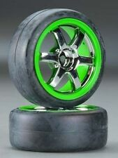 Traxxas Pre-Mounted Gymkhana Slick Tires w/Volk Racing TE37 Wheels Chrome/Green