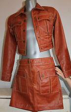 VTG Jacket and Skirt Set 100% Leather Brown. Conjunto de Falda y Chaqueta.