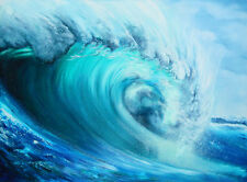 OCEAN WAVE PAINTING- HUGE CANVAS PRINT- A1 Poster