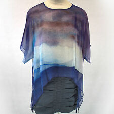 NWT Cocoon House Wearable Art Purple Sunset Sheer 100% Silk Pointed Top Large/XL