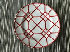 """Ralph Lauren 4 RED PAGODA SALAD PLATES 8""""  Red & White Bamboo- New w/tags RARE"""
