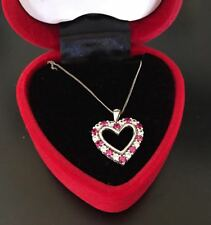 Sterling Silver Pink Sapphire & CZ Heart Shaped Pendant on Chain
