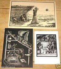 MERULA GUINNESS 3 BEAUTIFUL HANDWRITTEN DESIGNED CHRISTMAS CARDS ~ ALEC GUINNESS