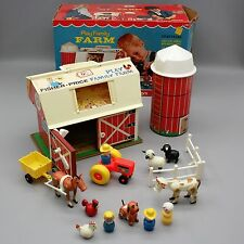 Vtg 1968 Fisher Price Little People Play Family Farm #915 Moo Barn Silo Box