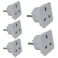 5 x UK/EUROPE TO US/AUSTRALIA/NZ TRAVEL ADAPTER CONVERTER PLUG WHITE BY POWER