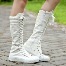 Womens New Girls Punk Boot Canvas Lace Up Zip Knight Knee High Boots Shoes Sz 40