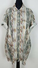 WOMENS VINTAGE RETRO 90'S BRIGHT PATTERN OVERSIZED BLOUSE SHIRT FRESH PRINCE XL