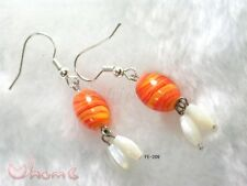 Women New Oriental Handmade Chinese Lazurite Orange Angel Fish Hooks Earrings