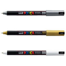 3 x POSCA MARKER PEN PC-1MR  - [WHITE, GOLD & SILVER] = 1 of each colour
