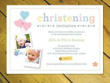 25 Personalised joint Christening invitations boy girl Naming day photo