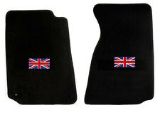 NEW! 1965-1967 Sunbeam Tiger, Alpine Black Floor Mats with Flag Logo Pair Set