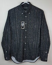 Gitman Bros Vintage Rare Cable Knit Print Brushed Twill Flannel Shirt Size S NWT