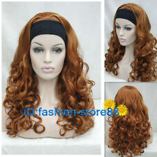 Mid-Long Fox Red Curly Women Female Lady With headband Synthetic Hair Wig