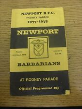 28/03/1978 Rugby Union Programme: Newport v Barbarians (very creased, team chang