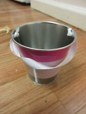 METAL PAIL PINK COLOR BLOCK WITH RIBBON HANDLES PARTY GIFT TRINKET BIN HOLDER