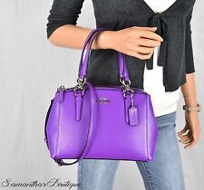 NWT COACH PURPLE LEATHER SATCHEL SHOULDER BAG MESSENGER HANDBAG PURSE HOBO