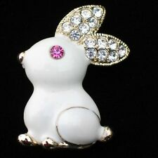 """PINK EYE COTTON TAIL HOPPING SITTING EASTER BUNNY RABBIT PIN BROOCH JEWELRY 1+"""""""