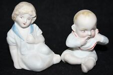 Vintage Bisque Piano Baby Models - Baby Boy and Girl