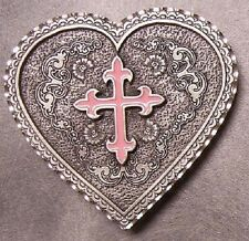Pewter Belt Buckle Western Grace Heart Pink Cross NEW
