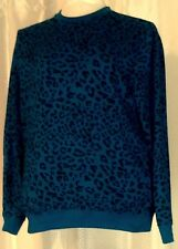 Womens L Top Vintage CARBON Sweatshirt Cotton Blend Teal Blue Black Leopard Spot
